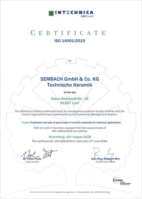 certificate 14001